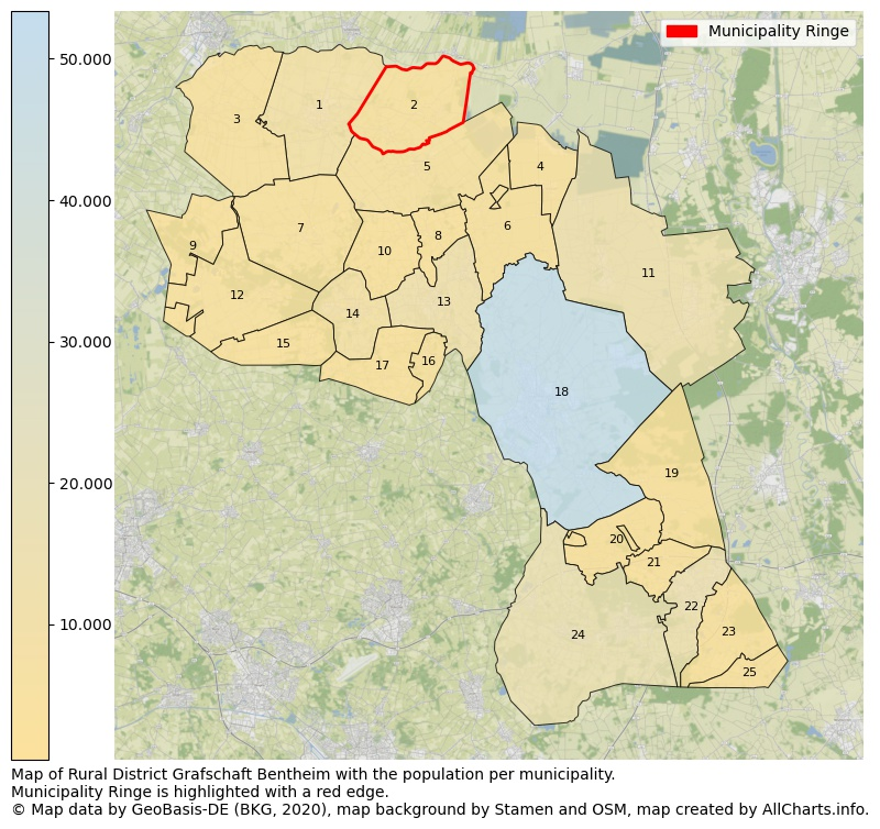 Map of Rural district Grafschaft Bentheim with the population per municipality.Municipality Ringe is highlighted with a red edge.. This page shows a lot of information about residents (such as the distribution by age groups, family composition, gender, native or German with an immigration background, ...), homes (numbers, types, price development, use, type of property, ...) and more (car ownership, energy consumption, ...) based on open data from the German Federal Agency for Cartography, the Federal Statistical Office (DESTATIS), the Regional Statistical Offices and various other sources!