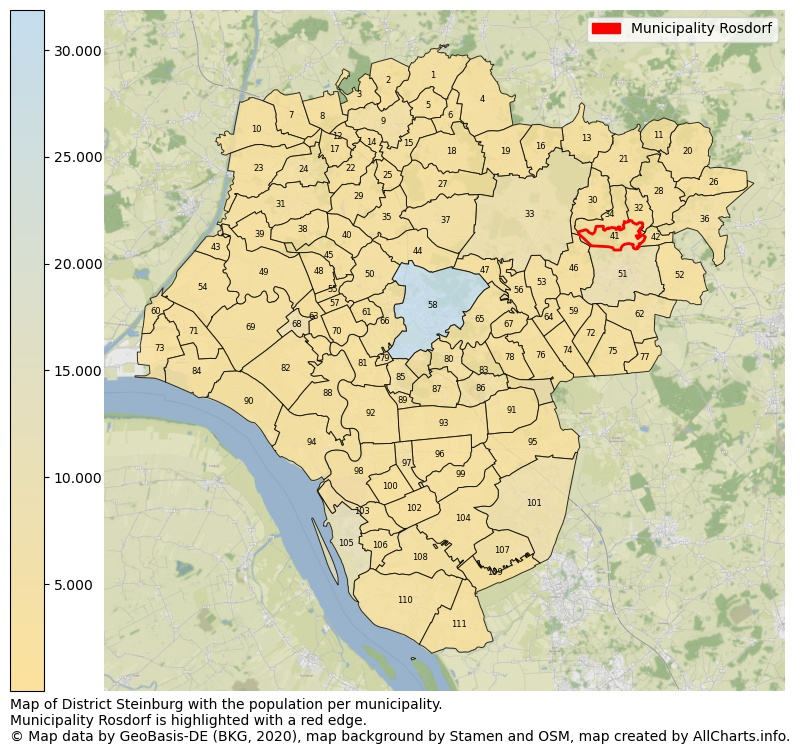 Map of District Steinburg with the population per municipality.Municipality Rosdorf is highlighted with a red edge.. This page shows a lot of information about residents (such as the distribution by age groups, family composition, gender, native or German with an immigration background, ...), homes (numbers, types, price development, use, type of property, ...) and more (car ownership, energy consumption, ...) based on open data from the German Federal Agency for Cartography, the Federal Statistical Office (DESTATIS), the Regional Statistical Offices and various other sources!