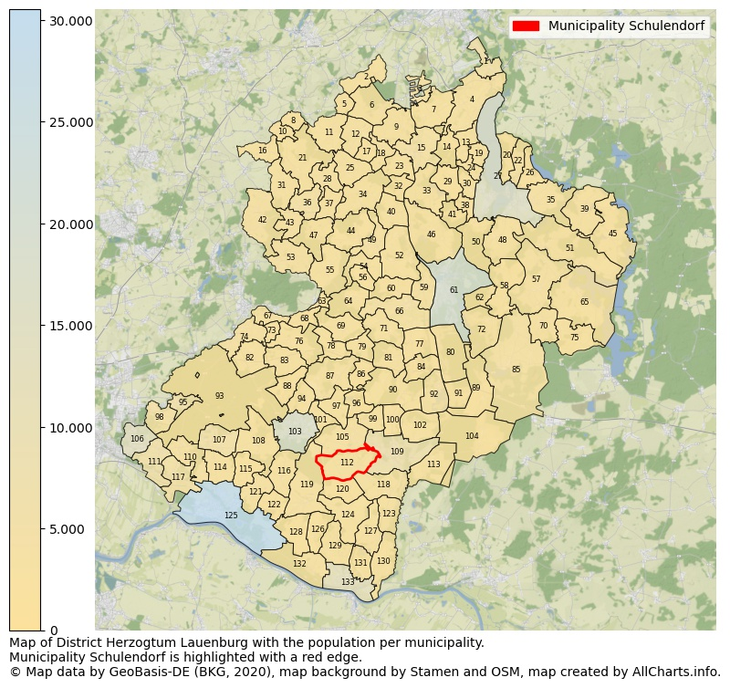 Map of District Herzogtum Lauenburg with the population per municipality.Municipality Schulendorf is highlighted with a red edge.. This page shows a lot of information about residents (such as the distribution by age groups, family composition, gender, native or German with an immigration background, ...), homes (numbers, types, price development, use, type of property, ...) and more (car ownership, energy consumption, ...) based on open data from the German Federal Agency for Cartography, the Federal Statistical Office (DESTATIS), the Regional Statistical Offices and various other sources!