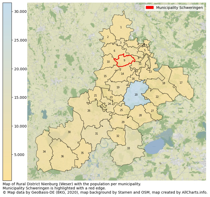 Map of Rural district Nienburg (Weser) with the population per municipality.Municipality Schweringen is highlighted with a red edge.. This page shows a lot of information about residents (such as the distribution by age groups, family composition, gender, native or German with an immigration background, ...), homes (numbers, types, price development, use, type of property, ...) and more (car ownership, energy consumption, ...) based on open data from the German Federal Agency for Cartography, the Federal Statistical Office (DESTATIS), the Regional Statistical Offices and various other sources!