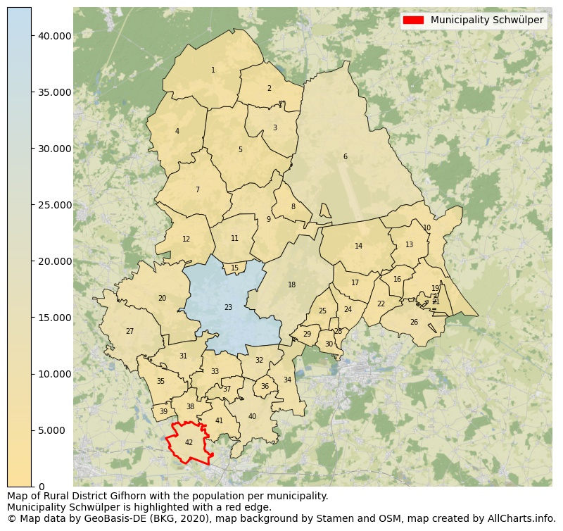 Map of Rural district Gifhorn with the population per municipality.Municipality Schwülper is highlighted with a red edge.. This page shows a lot of information about residents (such as the distribution by age groups, family composition, gender, native or German with an immigration background, ...), homes (numbers, types, price development, use, type of property, ...) and more (car ownership, energy consumption, ...) based on open data from the German Federal Agency for Cartography, the Federal Statistical Office (DESTATIS), the Regional Statistical Offices and various other sources!