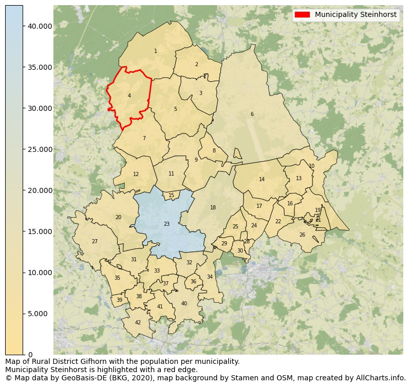 Map of Rural district Gifhorn with the population per municipality.Municipality Steinhorst is highlighted with a red edge.. This page shows a lot of information about residents (such as the distribution by age groups, family composition, gender, native or German with an immigration background, ...), homes (numbers, types, price development, use, type of property, ...) and more (car ownership, energy consumption, ...) based on open data from the German Federal Agency for Cartography, the Federal Statistical Office (DESTATIS), the Regional Statistical Offices and various other sources!
