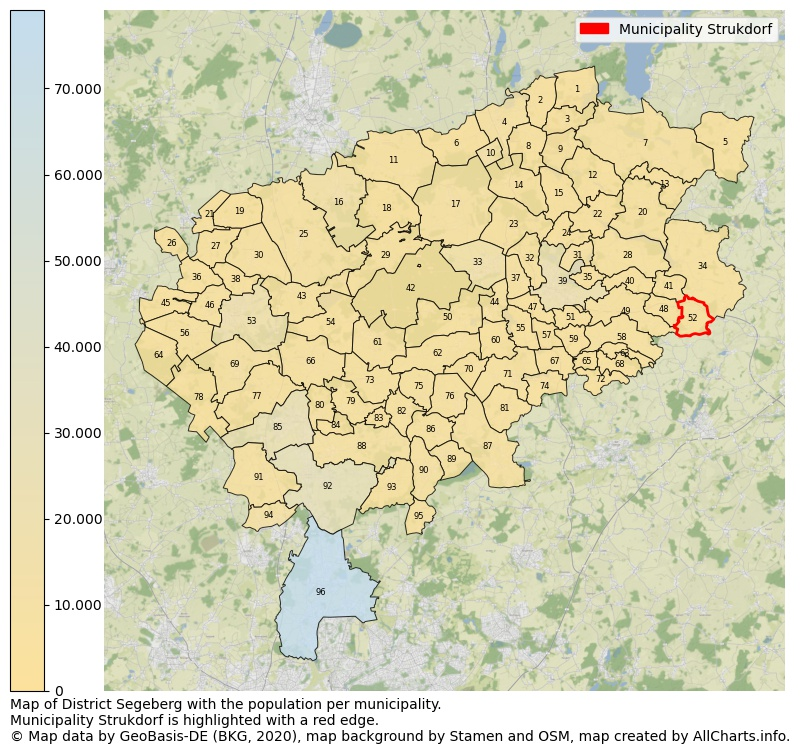 Map of District Segeberg with the population per municipality.Municipality Strukdorf is highlighted with a red edge.. This page shows a lot of information about residents (such as the distribution by age groups, family composition, gender, native or German with an immigration background, ...), homes (numbers, types, price development, use, type of property, ...) and more (car ownership, energy consumption, ...) based on open data from the German Federal Agency for Cartography, the Federal Statistical Office (DESTATIS), the Regional Statistical Offices and various other sources!