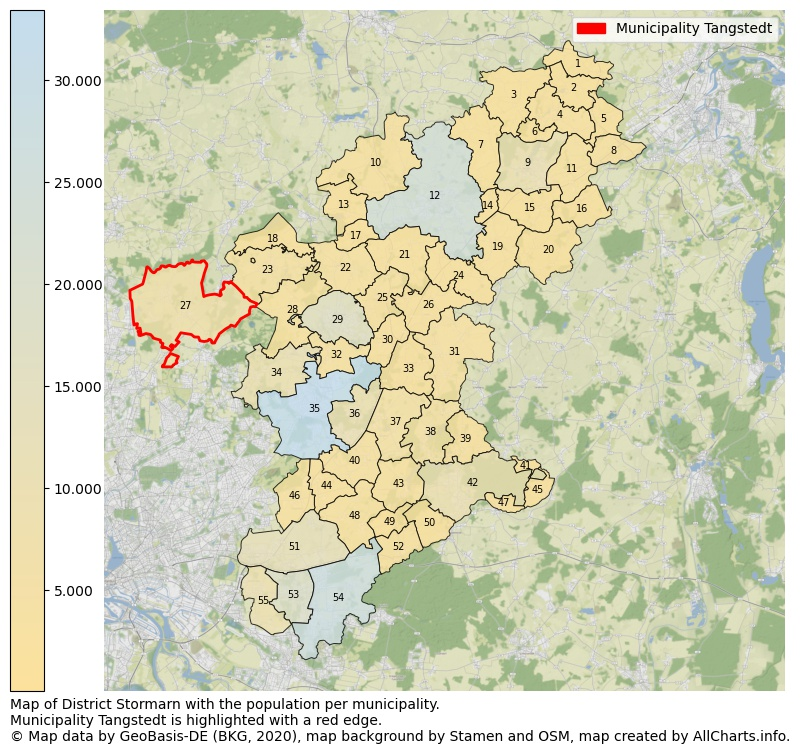 Map of District Stormarn with the population per municipality.Municipality Tangstedt is highlighted with a red edge.. This page shows a lot of information about residents (such as the distribution by age groups, family composition, gender, native or German with an immigration background, ...), homes (numbers, types, price development, use, type of property, ...) and more (car ownership, energy consumption, ...) based on open data from the German Federal Agency for Cartography, the Federal Statistical Office (DESTATIS), the Regional Statistical Offices and various other sources!