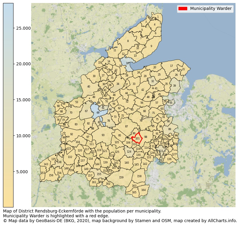 Map of District Rendsburg-Eckernförde with the population per municipality.Municipality Warder is highlighted with a red edge.. This page shows a lot of information about residents (such as the distribution by age groups, family composition, gender, native or German with an immigration background, ...), homes (numbers, types, price development, use, type of property, ...) and more (car ownership, energy consumption, ...) based on open data from the German Federal Agency for Cartography, the Federal Statistical Office (DESTATIS), the Regional Statistical Offices and various other sources!