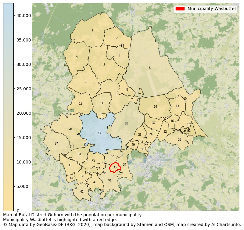 Map of Rural district Gifhorn with the population per municipality.Municipality Wasbüttel is highlighted with a red edge.. This page shows a lot of information about residents (such as the distribution by age groups, family composition, gender, native or German with an immigration background, ...), homes (numbers, types, price development, use, type of property, ...) and more (car ownership, energy consumption, ...) based on open data from the German Federal Agency for Cartography, the Federal Statistical Office (DESTATIS), the Regional Statistical Offices and various other sources!
