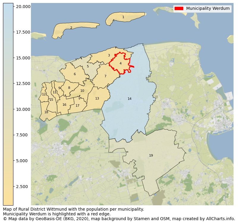 Map of Rural district Wittmund with the population per municipality.Municipality Werdum is highlighted with a red edge.. This page shows a lot of information about residents (such as the distribution by age groups, family composition, gender, native or German with an immigration background, ...), homes (numbers, types, price development, use, type of property, ...) and more (car ownership, energy consumption, ...) based on open data from the German Federal Agency for Cartography, the Federal Statistical Office (DESTATIS), the Regional Statistical Offices and various other sources!