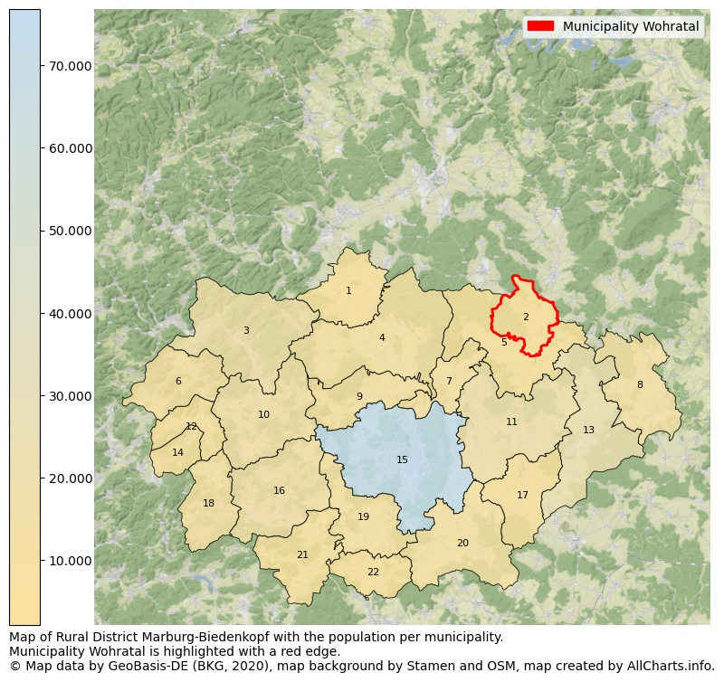 Map of Rural district Marburg-Biedenkopf with the population per municipality.Municipality Wohratal is highlighted with a red edge.. This page shows a lot of information about residents (such as the distribution by age groups, family composition, gender, native or German with an immigration background, ...), homes (numbers, types, price development, use, type of property, ...) and more (car ownership, energy consumption, ...) based on open data from the German Federal Agency for Cartography, the Federal Statistical Office (DESTATIS), the Regional Statistical Offices and various other sources!