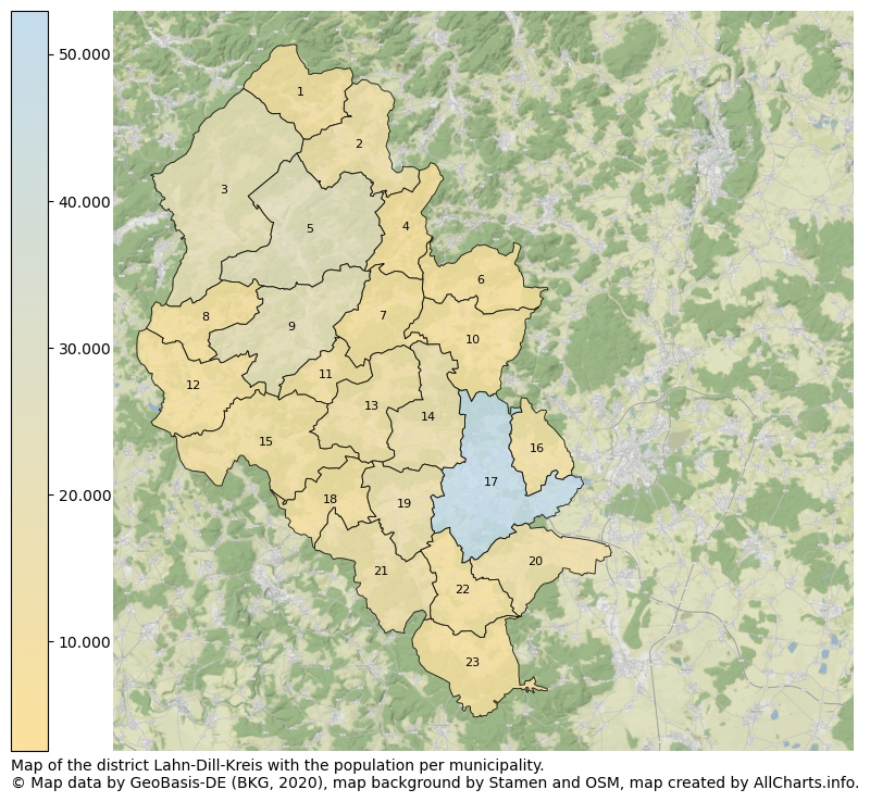 Map of the district Lahn-Dill-Kreis with the population per municipality.. This page shows a lot of information about residents (such as the distribution by age groups, family composition, gender, native or German with an immigration background, ...), homes (numbers, types, price development, use, type of property, ...) and more (car ownership, energy consumption, ...) based on open data from the German Federal Agency for Cartography, the Federal Statistical Office (DESTATIS), the Regional Statistical Offices and various other sources!