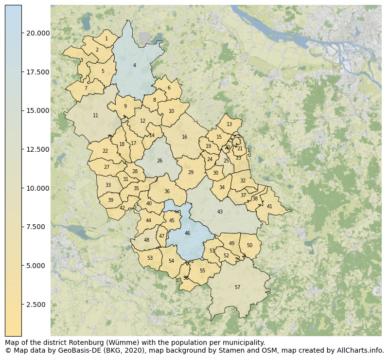 Map of the district Rotenburg (Wümme) with the population per municipality.. This page shows a lot of information about residents (such as the distribution by age groups, family composition, gender, native or German with an immigration background, ...), homes (numbers, types, price development, use, type of property, ...) and more (car ownership, energy consumption, ...) based on open data from the German Federal Agency for Cartography, the Federal Statistical Office (DESTATIS), the Regional Statistical Offices and various other sources!