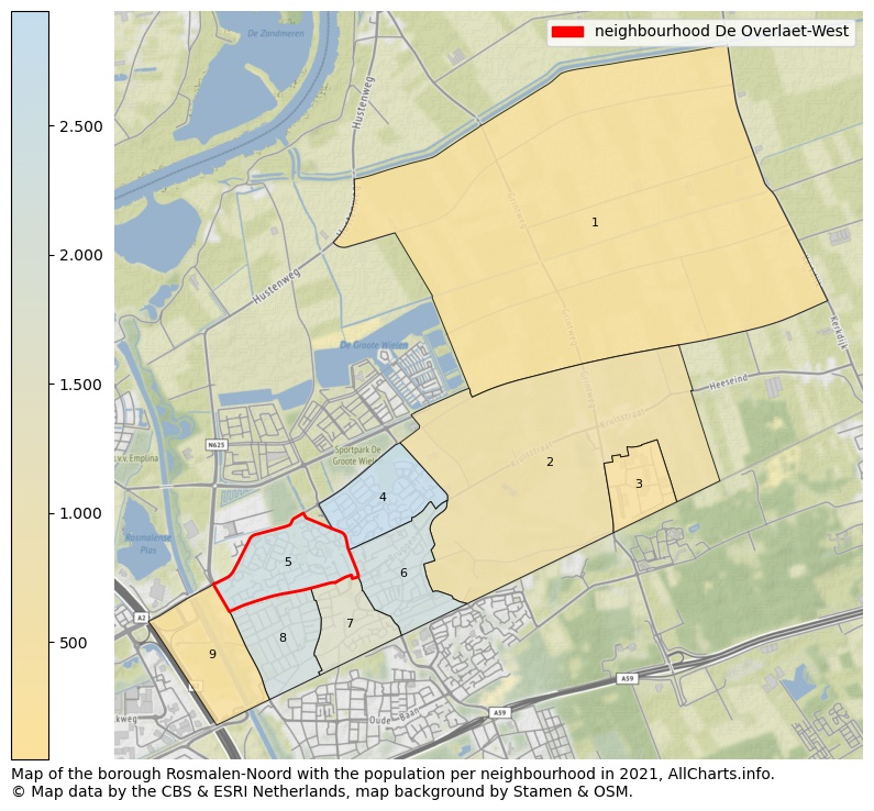 Map of the borough Rosmalen Noord with the population per neighbourhood in 2020. This page shows a lot of information about residents (such as the distribution by age groups, family composition, gender, native or Dutch with an immigration background, ...), homes (numbers, types, price development, use, type of property, ...) and more (car ownership, energy consumption, ...) based on open data from the Dutch Central Bureau of Statistics and various other sources!