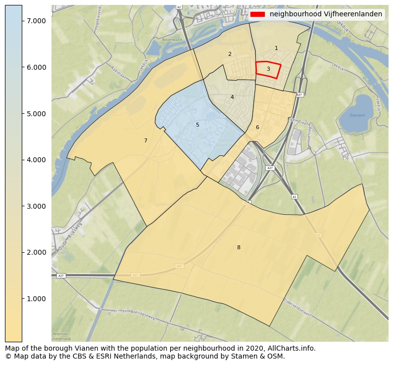 Map of the borough Vianen with the population per neighbourhood in 2020. This page shows a lot of information about residents (such as the distribution by age groups, family composition, gender, native or Dutch with an immigration background, ...), homes (numbers, types, price development, use, type of property, ...) and more (car ownership, energy consumption, ...) based on open data from the Dutch Central Bureau of Statistics and various other sources!
