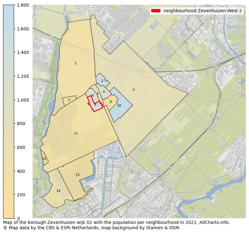 Map of the borough Zevenhuizen Wijk 02 with the population per neighbourhood in 2020. This page shows a lot of information about residents (such as the distribution by age groups, family composition, gender, native or Dutch with an immigration background, ...), homes (numbers, types, price development, use, type of property, ...) and more (car ownership, energy consumption, ...) based on open data from the Dutch Central Bureau of Statistics and various other sources!