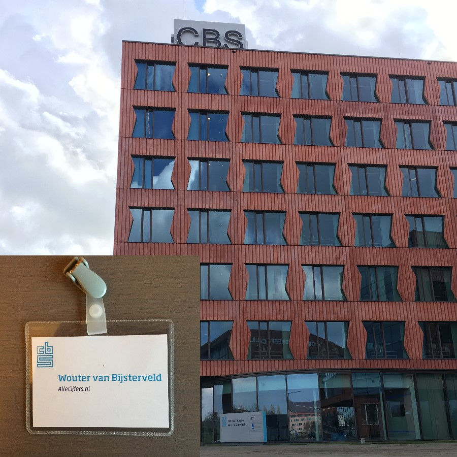 Picture of the head office of the central statistical office in The Netherlands with my entry badge.